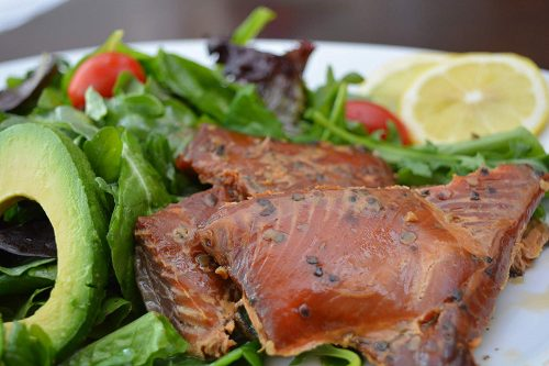 Smoked Candied Pink Peppercorn Salmon 1